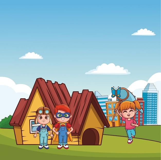 Kids playing at park cartoons