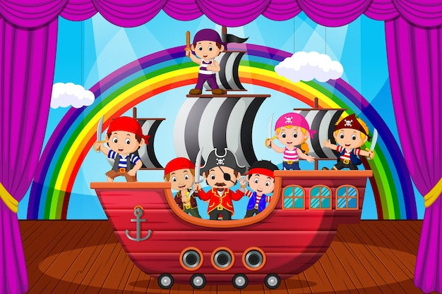 Kids playing pirate on stage