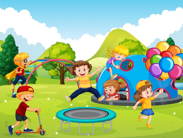 Kids playing in playground