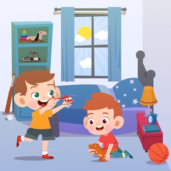 Kids playing in the room vector illustration