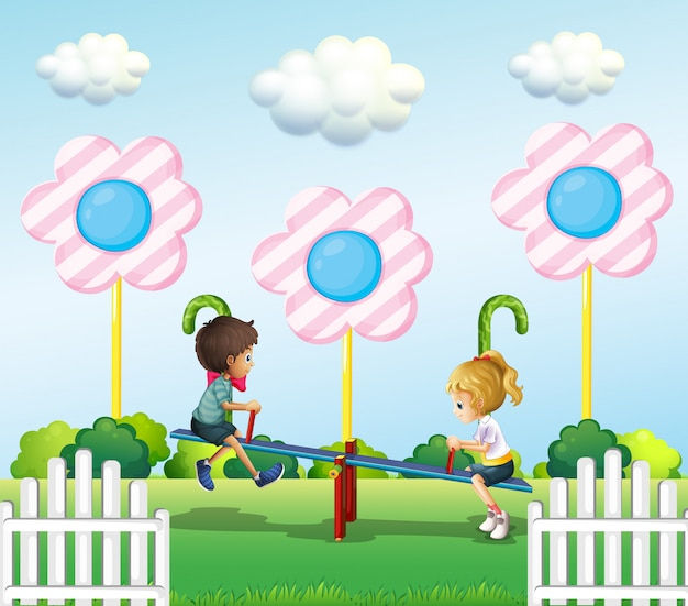 공원에서 시소를 연주하는 아이들