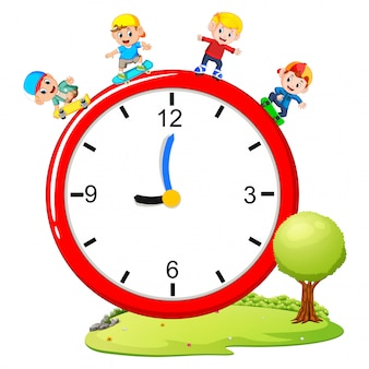 Kids playing skateboard and roller skate on giant clock