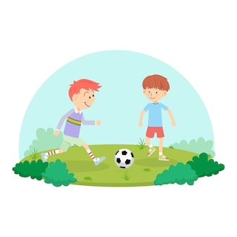 Kids playing soccer football for exercise in school playground.