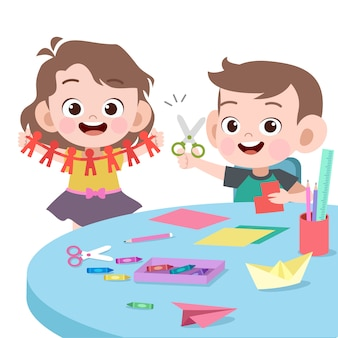 Kids playing together vector illustration