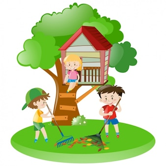 Kids playing in a treehouse