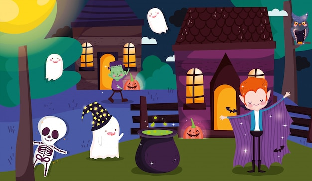 Kids playing trick or treat at halloween