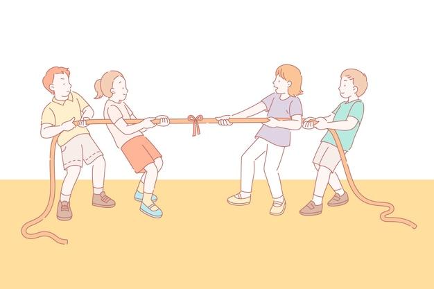 Дети играют в перетягивание каната в стиле линии