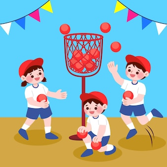 Kids playing undoukai sport