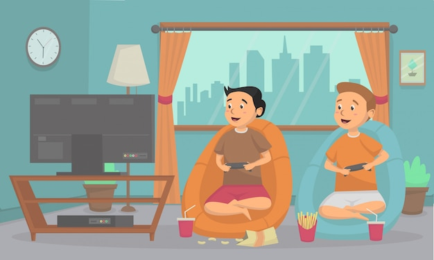 Kids playing a video game console at home vector  illustration concept