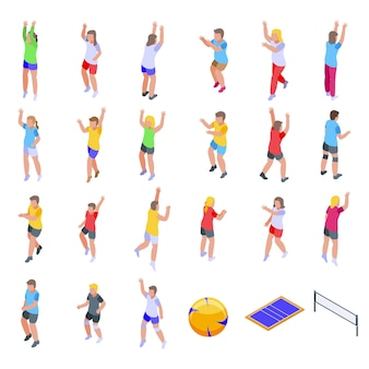 Kids playing volleyball icons set. isometric set of kids playing volleyball  icons for web