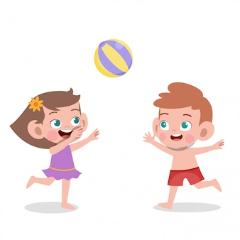 Kids playing to volleyball