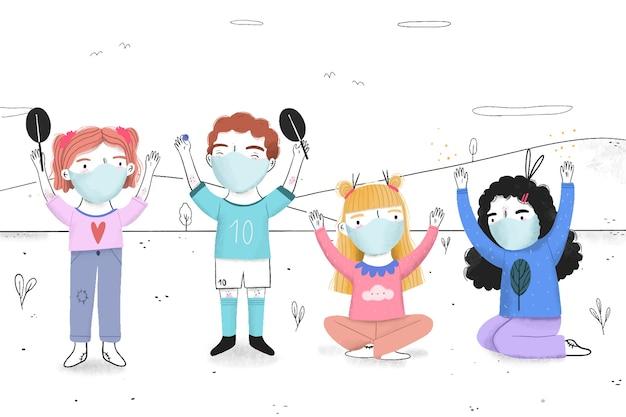 医療用マスクを着て遊ぶ子供たち