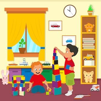 Дети играют в кирпичи