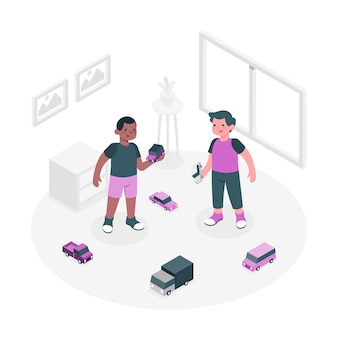 Kids playing with car toys concept illustration