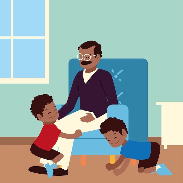 Kids playing with dad at home