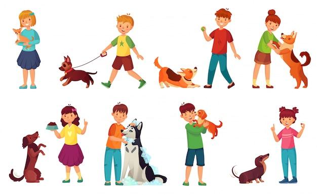 강아지와 함께 노는 아이들. 아이 먹이 개, 애완 동물 동물 관리 및 귀여운 강아지 만화 벡터 일러스트 레이 션 세트와 함께 산책하는 아이
