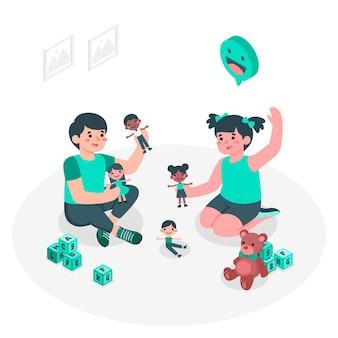人形の概念図で遊ぶ子供たち