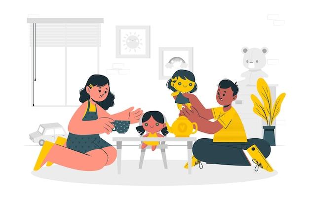 Дети играют с куклами концепции иллюстрации