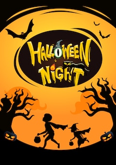 Kids playing with halloween night background