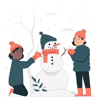 雪の概念図で遊ぶ子供たち