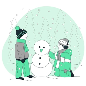 Kids playing with snowconcept illustration