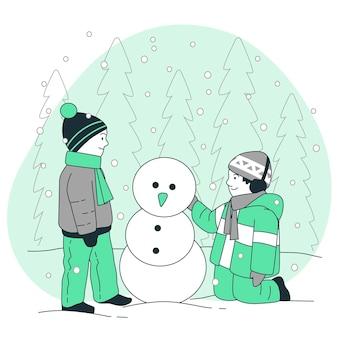 Bambini che giocano con l'illustrazione del concetto di neve