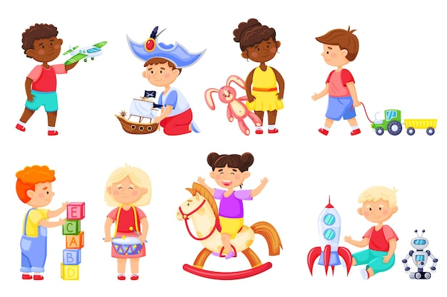 장난감을 가지고 노는 아이들 만화 아이들은 로켓 토끼와 놀고 흔들 목마에 유치원 소녀