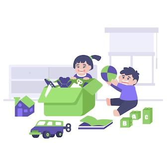 さまざまなおもちゃのイラストで遊ぶ子供たち。世界こどもの日のイラスト