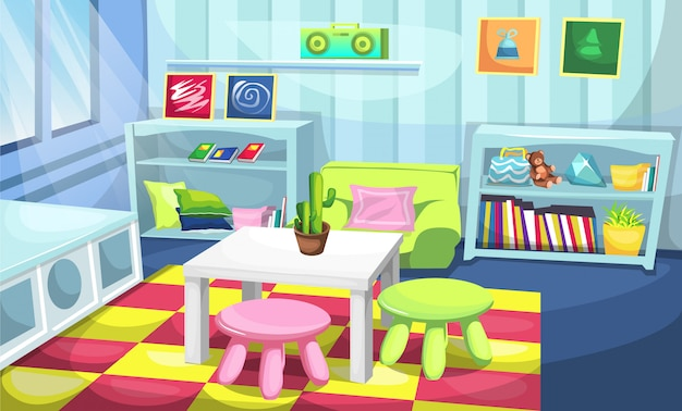 Kids playroom colorful landscape with table and chairs, desk full of books, teddy bears and tape stereo for   illustration interior design ideas