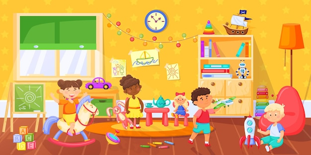 Kids in playroom happy children playing with toys in kindergarten