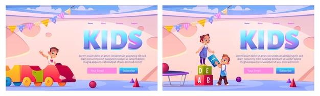 Kids in playroom landing pages set