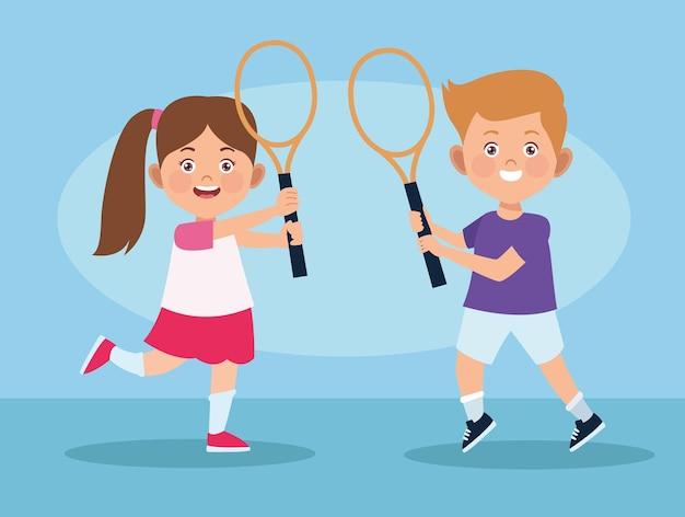 Kids practicing tennis Premium Vector