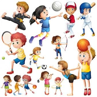 Kids practising sports