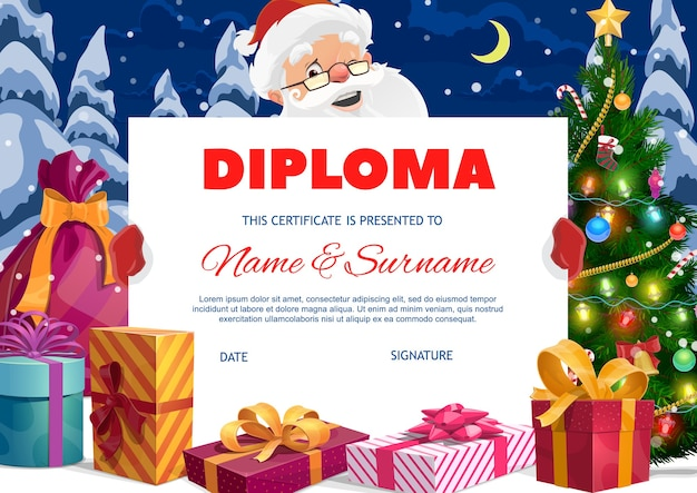Kids preschool diploma with santa claus and gifts. cartoon christmas certificate template with xmas presents and sack stand at christmas tree with gift boxes on snow. santa hold a diploma