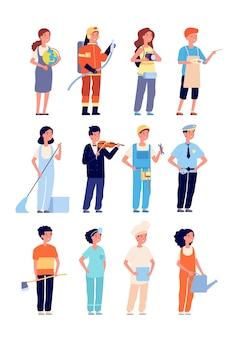 子供の職業。プロの制服を着た子供たち。孤立した漫画の女の子の男の子のエンジニアリングビルダーシェフの教師とアーティストのベクトルを設定します。プロの労働者の仕事、イラストの均一な職業