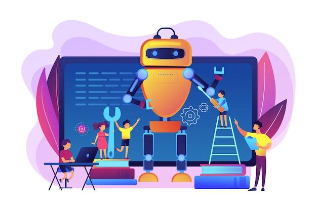 Bambini che programmano e creano robot in classe, persone minuscole. ingegneria per bambini, impara attività scientifiche, concetto di classi di sviluppo precoce.