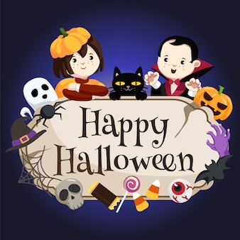 Kids in pumpkin and dracula costume with happy halloween sign
