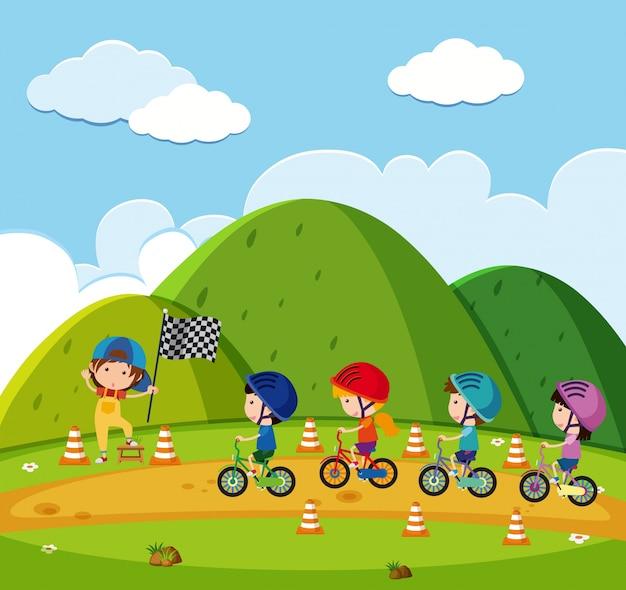 公園でキッズレーシングバイク
