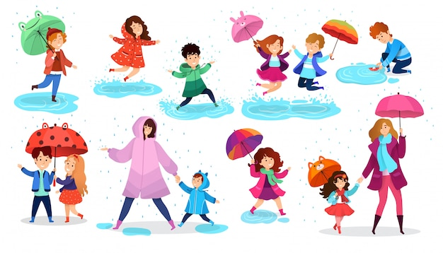 Kids in rain, happy children with umbrella, set of  cartoon characters,  illustration