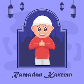 Kids ramadan kareem islamic cartoon illustration