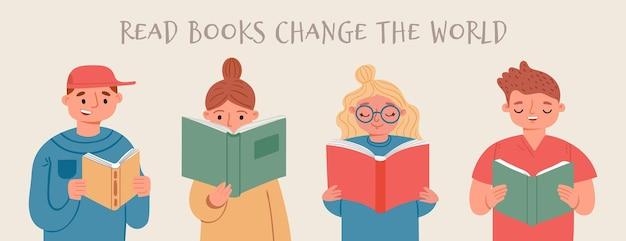 아이들은 책을 읽고 배웁니다. 책을 가지고 행복한 독서하는 사람, 소녀, 소년. 도서관, 서점 또는 학교, 벡터 개념을 위한 만화 배너. 그림 읽기와 공부 책, 교육 학습