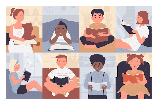 子供たちは本を読む子供たちはオープンストーリーの図書館の本を持っているセットの愛らしい女の子の男の子を勉強します