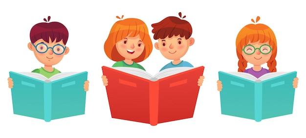 책을 읽는 아이 들. 교육 소년 소녀, 열린 책 읽기 및 연구와 그림 벡터 어린이