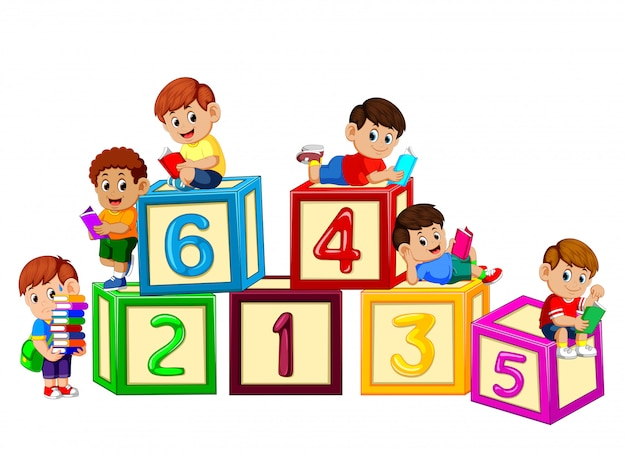 Kids reading book on the number block
