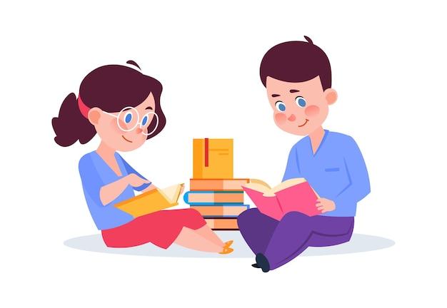 本を読んでいる子供たち。本、図書館やレッスンの子供たちと漫画の男の子の女の子。独学、兄と妹は新しいベクトルイラストを学びます。男の子と女の子の教育、子供たちは本で勉強します