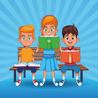 Kids reading books cartoons