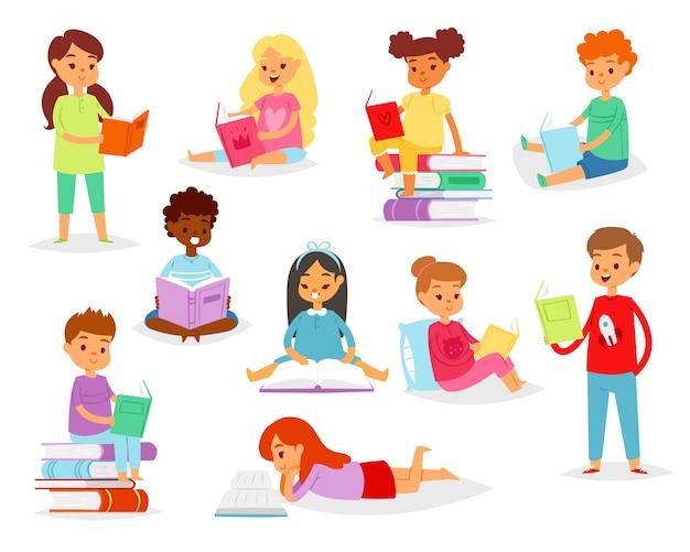 図書館に座っている教育を受けた子供のブックマークイラストセットが付いた教科書を読む本の子供キャラクターの男の子か女の子を読む子供