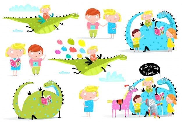 子供たちが本を読むドラゴンクリップアートコレクション
