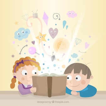 Kids reading a fairy tale Free Vector