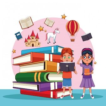 Kids reading fairy tales